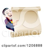 Cartoon Of A Happy Dracula Halloween Vampire Pointing At A Sign Scroll Royalty Free Vector Clipart by AtStockIllustration