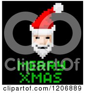 Clipart Of A Pixelated Video Game Santa And Merry Xmas Text On Black Royalty Free Vector Illustration