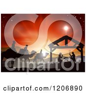 Clipart Of A Silhouetted Christmas Nativity Scene At The Manger With The Star Of Bethlehem And Sunset Royalty Free Vector Illustration