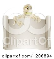 Cartoon Of A Happy Halloween Mummy Pointing Down To A Blank Scroll Sign Royalty Free Vector Clipart