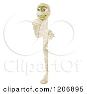 Cartoon Of A Happy Halloween Mummy Looking Around A Sign Board Royalty Free Vector Clipart
