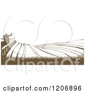 Clipart Of A Farm House And Rolling Hills In Brown And White Royalty Free Vector Illustration by AtStockIllustration