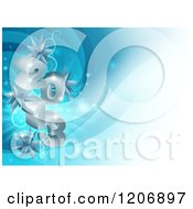 Clipart Of A 3d Silver Year 2013 With Christmas Star Ornaments Over Blue Royalty Free Vector Illustration
