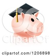 Cartoon Of A Pink Graduation Piggy Bank Wearing A Mortar Board Royalty Free Vector Clipart