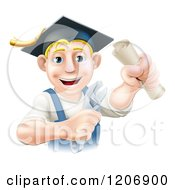 Cartoon Of A Happy Blond Worker Wearing A Mortar Board Holding A Wrench And Degree Royalty Free Vector Clipart