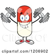 Cartoon Of A Happy Pill Mascot Lifting Dumbbells Royalty Free Vector Clipart by Hit Toon