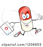 Cartoon Of A Happy Pill Mascot Running With A First Aid Kit Royalty Free Vector Clipart by Hit Toon
