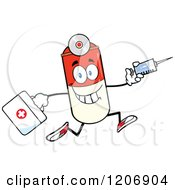 Cartoon Of A Happy Pill Mascot Running With A Syringe And First Aid Kit Royalty Free Vector Clipart by Hit Toon