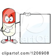 Cartoon Of A Happy Pill Mascot Standing By A Sign Royalty Free Vector Clipart by Hit Toon