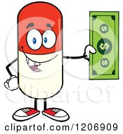 Cartoon Of A Happy Pill Mascot Holding Cash Royalty Free Vector Clipart