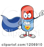 Cartoon Of A Happy Pill Mascot Super Hero Royalty Free Vector Clipart by Hit Toon