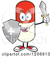Cartoon Of A Happy Pill Mascot With A Sword And Shield Royalty Free Vector Clipart