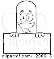 Cartoon Of A Black And White Happy Pill Mascot Holding A Sign Royalty Free Vector Clipart