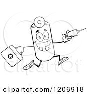 Cartoon Of A Black And White Happy Pill Mascot Running With A Syringe And First Aid Kit Royalty Free Vector Clipart by Hit Toon