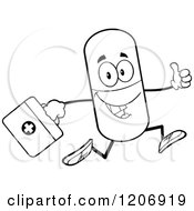 Cartoon Of A Black And White Happy Pill Mascot Running With A First Aid Kit Royalty Free Vector Clipart by Hit Toon