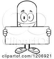 Cartoon Of A Black And White Happy Pill Mascot Holding A Sign Royalty Free Vector Clipart by Hit Toon