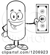 Cartoon Of A Black And White Happy Pill Mascot Holding Cash Royalty Free Vector Clipart by Hit Toon