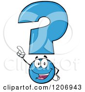 Cartoon Of A Happy Pointing Blue Question Mark Mascot Royalty Free Vector Clipart by Hit Toon
