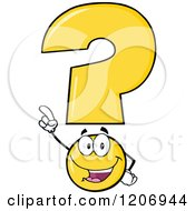 Cartoon Of A Happy Pointing Yellow Question Mark Mascot Royalty Free Vector Clipart by Hit Toon