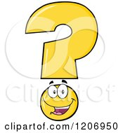 Cartoon Of A Happy Yellow Question Mark Mascot Royalty Free Vector Clipart by Hit Toon