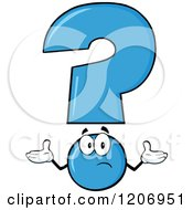 Cartoon Of A Shrugging Blue Question Mark Mascot Royalty Free Vector Clipart
