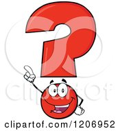 Cartoon Of A Happy Pointing Red Question Mark Mascot Royalty Free Vector Clipart by Hit Toon