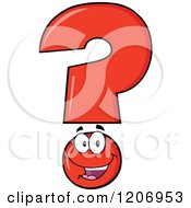 Cartoon Of A Happy Red Question Mark Mascot Royalty Free Vector Clipart by Hit Toon