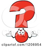 Cartoon Of A Shrugging Red Question Mark Mascot Royalty Free Vector Clipart