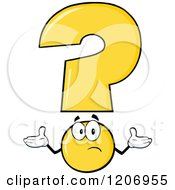 Cartoon Of A Shrugging Yellow Question Mark Mascot Royalty Free Vector Clipart