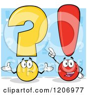 Cartoon Of A Shrugging Question Mark And Smart Exclamation Point Over Blue Royalty Free Vector Clipart by Hit Toon