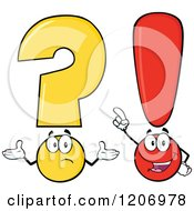 Cartoon Of A Shrugging Question Mark And Smart Exclamation Point Royalty Free Vector Clipart by Hit Toon