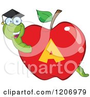 Cartoon Of A Smart Worm In A Letter A School Apple Royalty Free Vector Clipart