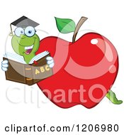 Cartoon Of A Bookworm In A School Apple Royalty Free Vector Clipart