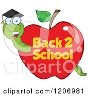 Cartoon Of A Bookworm In A Back 2 School Apple Royalty Free Vector Clipart