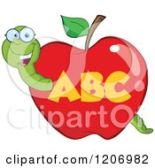 Cartoon Of A Happy Worm In An Abc School Apple Royalty Free Vector Clipart