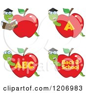 Cartoon Of Worms In School Apples Royalty Free Vector Clipart