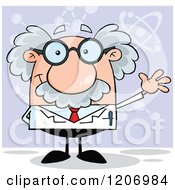 Cartoon Of A Happy Scientist Waving Over Purple Royalty Free Vector Clipart