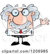 Cartoon Of A Happy Scientist Waving Royalty Free Vector Clipart