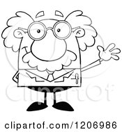 Cartoon Of An Outlined Happy Scientist Waving Royalty Free Vector Clipart