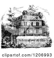 Clipart Of A Vintage Black And White Mansion Royalty Free Vector Illustration by Prawny Vintage