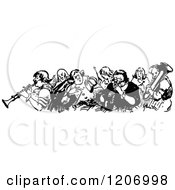 Clipart Of A Vintage Black And White Group Of Musicians Royalty Free Vector Illustration by Prawny Vintage
