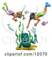 Clay Sculpture Clipart Boys Discovering A Neptune Statue Underwater Royalty Free 3d Illustration by Amy Vangsgard