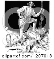 Clipart Of A Vintage Black And White War Cartoon Royalty Free Vector Illustration