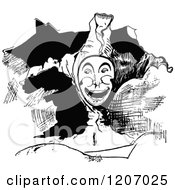 Clipart Of A Vintage Black And White Happy Jester Royalty Free Vector Illustration by Prawny Vintage