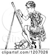 Clipart Of A Vintage Black And White Lady Art Student Royalty Free Vector Illustration