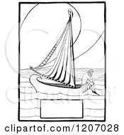 Clipart Of A Vintage Black And White Lonely Girl On A Boat With Copyspace Royalty Free Vector Illustration