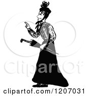 Clipart Of A Vintage Black And White Lady Pointing Royalty Free Vector Illustration by Prawny Vintage