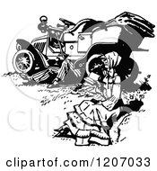 Clipart Of A Vintage Black And White Woman Reading While A Man Works Under A Car Royalty Free Vector Illustration by Prawny Vintage