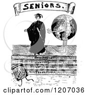 Vintage Black And White Senior Graduate Woman And Globe