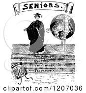 Vintage Black And White Senior Graduate Woman And Globe